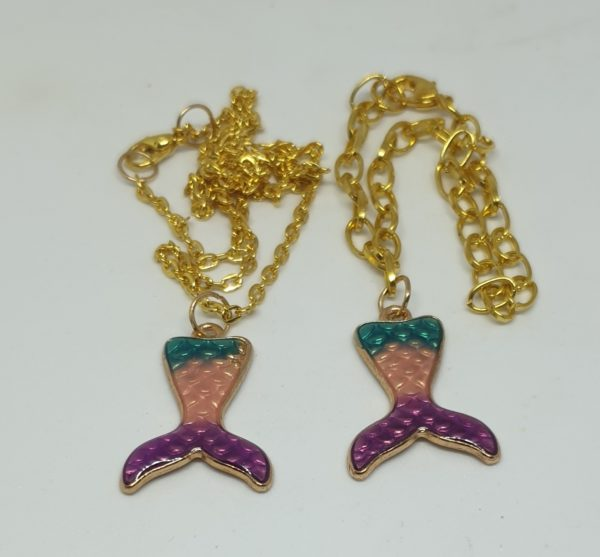 Colourful Mermaid Tail Pendant and Bracelet Gift Set