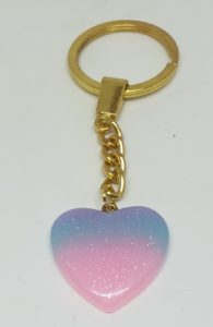 Sparkly Resin Heart KeyRing
