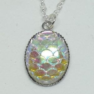 Shimmer Silvery White Mermaid Scale Pendant