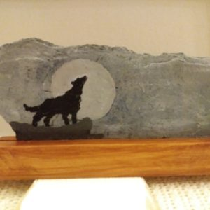Wolf Hand Painted Slate Plaque