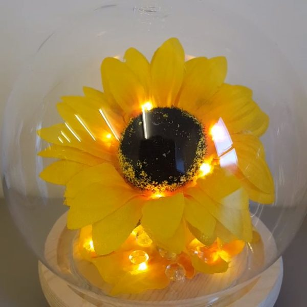 Sunflower Glass Dome with led lights. Inspired by the famous Beauty and the Beast Rose Dome from the movie Unique Bespoke and Handmade with Love