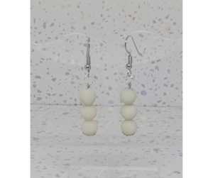 Cool Cream Moonstone Drop Earrings
