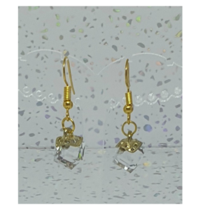 Crystal Cube Gold Drop Earrings