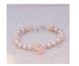 Handmade Flower Charm Beaded Bracelet