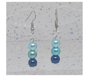 Shades of Blue Pearl Drop Earrings