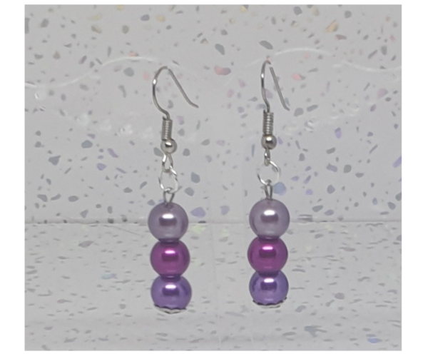 Shades of Purple Pearl Drop Earrings