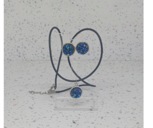 Blue Glass Chip Cabochon Pendant/Earrings Set