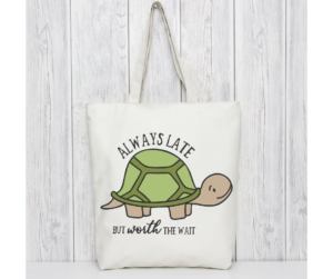 Humorous Turtle Design Tote Bag