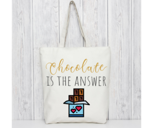 Humorous Chocolate Lover Design Tote Bag