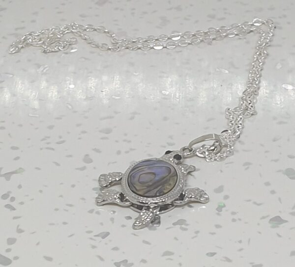 Mother of Pearl Shell Silver Turtle Necklace