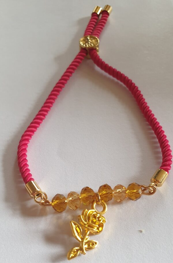 Red Cord Gold Faceted Crystals with Rose Charm Bracelet