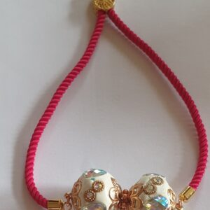 Red Cord Gold Indonesian Bead Bracelet