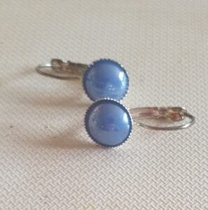 Handmade Mid Blue Pearl Hinged Drop Earrings
