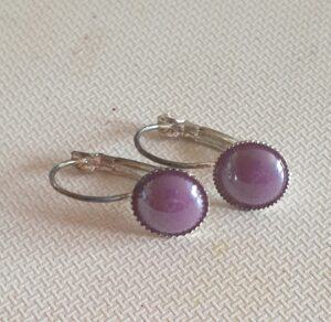 Handmade Mauve Pearl Hinged Drop Earrings