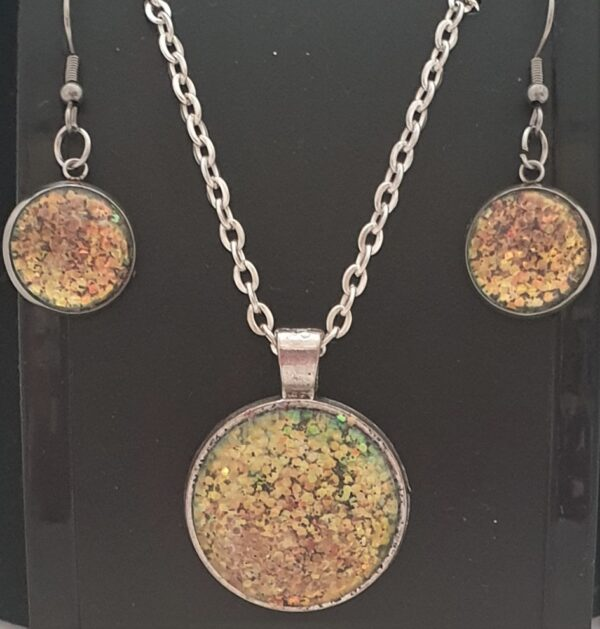 Handmade Galaxy Sparkly Necklace & Earrings Gift Set