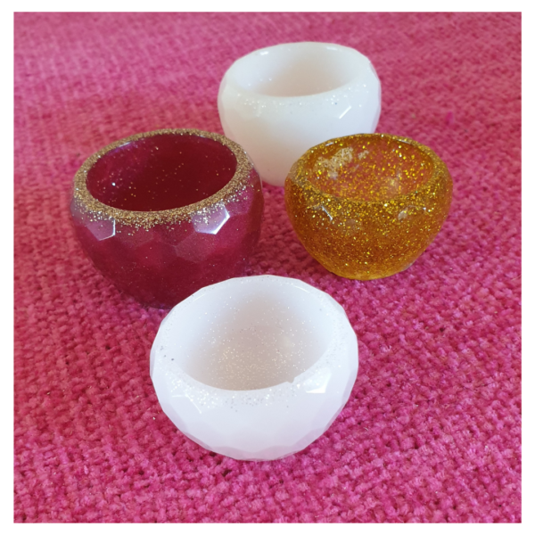 Handmade Resin Small Faceted Trinket Bowls